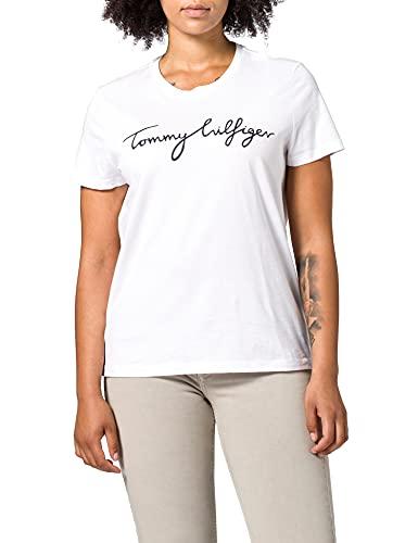 Tommy Hilfiger Damen Heritage Crew Neck Graphic Tee Regular Fit T-Shirt, Weiß (Classic White 100), Medium ( Herstellergröße: M)