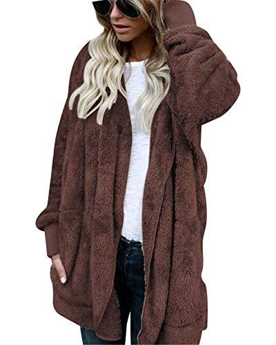 MISSMAO Damen Teddy-Fleece Mantel Kuscheliger Langer Fleecemantel Kapuzenpullover mit Kapuze Kaffee 2XL