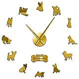 Leeypltm Reloj de Pared Retro Grande,Chihuahua de Raza de Perro de México 37 Pulgadas Dorado DIY Reloj de Pared sin Marco Espejo Grande 3D Sticker para el hogar/la Cocina/la Oficina/la Escuela.