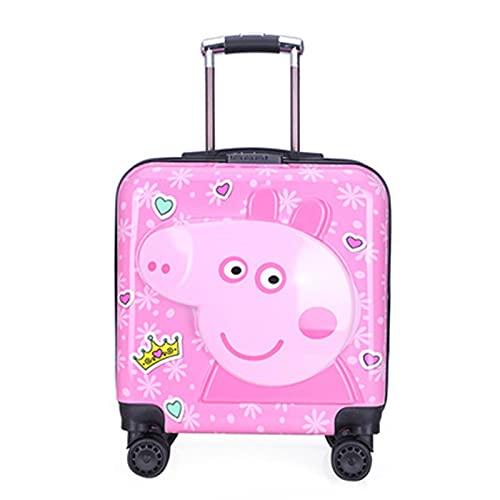 Valigia da Viaggio dei Bambini Svegli dei Cartoni Animati, Bagagli di Viaggio del Ragazzo E della Ragazza, Carrello Leggero del Guscio Rigido Piccola Valigia con 4 Ruote,Pig Pink