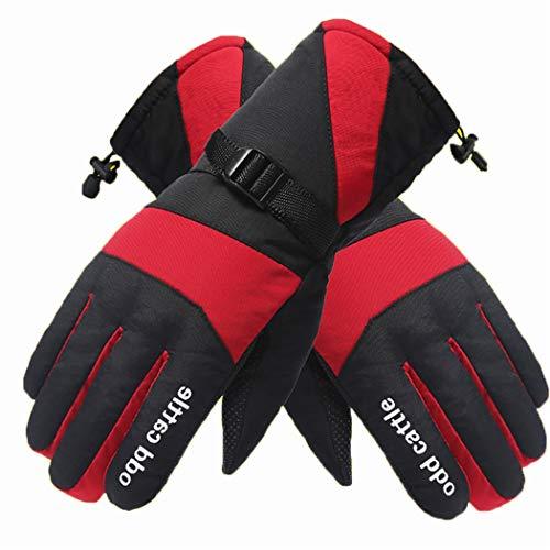 SHLGQB Unisex Winter-7.4V Handwärmer Elektro-Thermal-Handschuhe Akku Beheizte Handschuhe Motorrad-Fahrrad-Fahrrad-Ski-Handschuhe,Rot