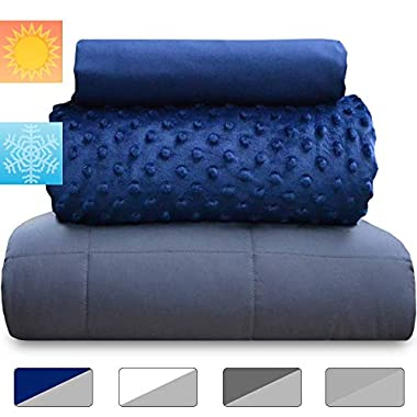 chilla 15 lbs Weighted Blanket Set | 3 Piece Set | Summer + Winter Duvet Covers | 60in x 80in | Therapeutic for Anxiety, Stress, ADHD, Insomnia | Navy Blue + Gray