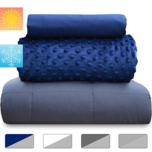 Cheap chilla 20 lbs Weighted Blanket Set | 3 Piece Set | Summer + Winter Duvet Covers | 60in x 80in ...