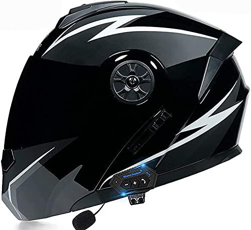 YIQQWS Cascos de Moto Integrales Casco Modular Moto Casco Integral con Visera Solar Doble Casco abatible Modular de Motocicleta Bluetooth con función de Respuesta automática Casco Mujer Moto Casco I