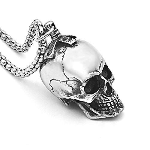 AMY-XCQ Collar Cráneo Tridimensional Colgante De Acero De T