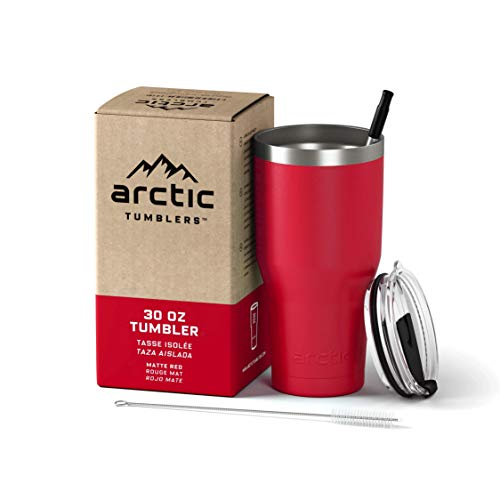 Arctic Tumblers Stainless Steel Camping & Travel Tumbler with Splash Proof Lid and Straw, Double...