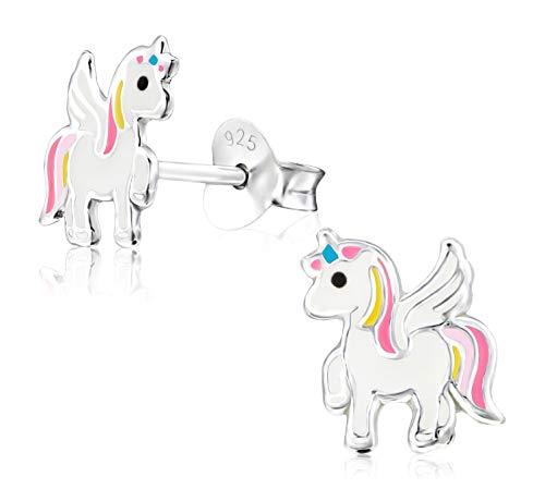 Laimons Orecchini per bambine e bambine con unicorno bianco, rosa, giallo in argento Sterling 925