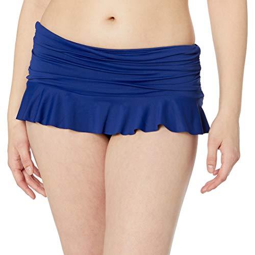 La Blanca Women's Island Goddess Skirted Ruffle Hipster Bikini Swimsuit Bottom, Midnight, 12