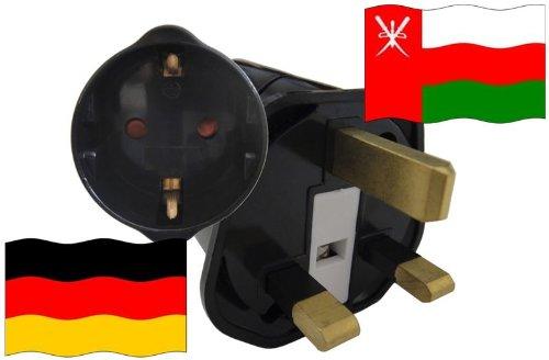 Urlaubs Reiseadapter Oman für Geräte aus Deutschland Kindersicherung und Schutzkontakt 250V