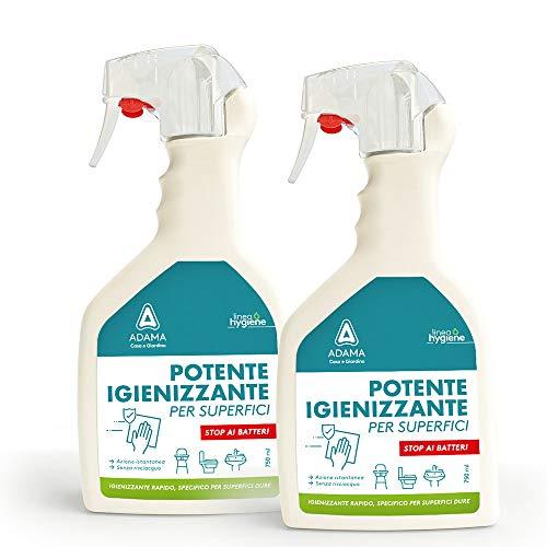 2x Spray Igienizzante Disinfettante Detergente Casa Superfici Dure, Azione Istantanea| Formato Spray NO GAS da 750ml x2| Senza Risciacquo|Set Igiene Antibatterico| Famiglia Protetta| (2x Superfici)