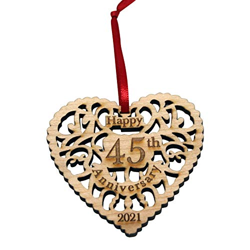Anniversary Ornament 2021 - Heart Shaped Happy Anniversary Ornament,...