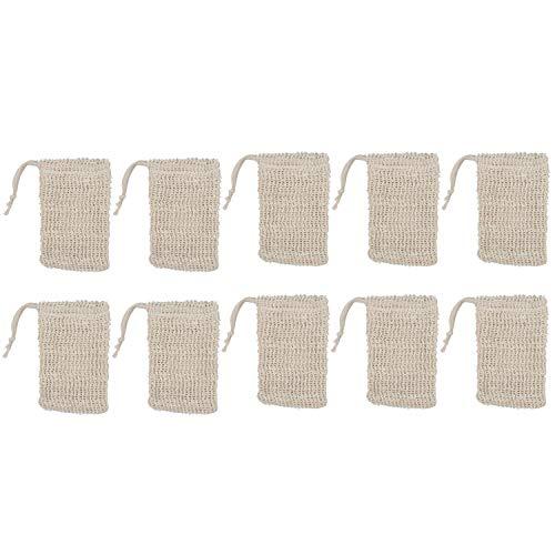 Cimoto Paquet De 10 Sachets De Savon en Sisal Naturel Support De Poche De Dispositif D'épargne à Savon Exfoliant