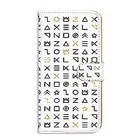 スマホケース 手帳型 ミラータイプ Galaxy S5 (SC-04F・SCL23) 対応 [古代文字風・ホワイト] サイン記号 エンシェント SAMSUNG サムスン ギャラクシー エスファイブ docomo au スタンド スマホカバー 携帯カバー [FFANY] ancient aao_210111m