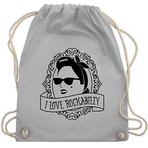Shirtracer Rockabilly - I Love Rockabilly - Frau - Unisize - Hellgrau - rockabilly geschenk - WM110 - Turnbeutel und Stoffbeutel aus Baumwolle