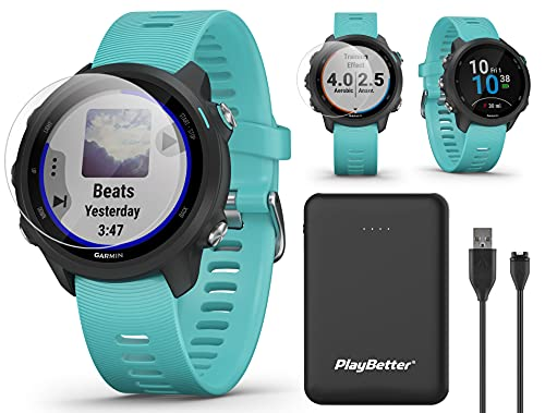 Garmin Forerunner 245 Music (Aqua) GPS Running Watch Power Bundle | with PlayBetter Portable Charger & HD Screen Protectors | Spotify, Training Status, Heart Rate | Running Smartwatch | 010-02120-22