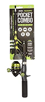 Steinhauser Pocket Combo - Tangle-Free Telescopic Fishing Rod and Spincast Reel Combo Micro Series - Ultralight and Super Compact Fishing Rod Travel - for Both Kids and Adults  Green Splatter