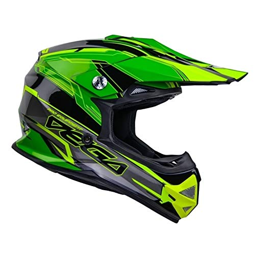 Vega Helmet Unisex-Adult Full Face 36099-203 Mighty X2 Youth Off Road Helmet Green Stinger Medium