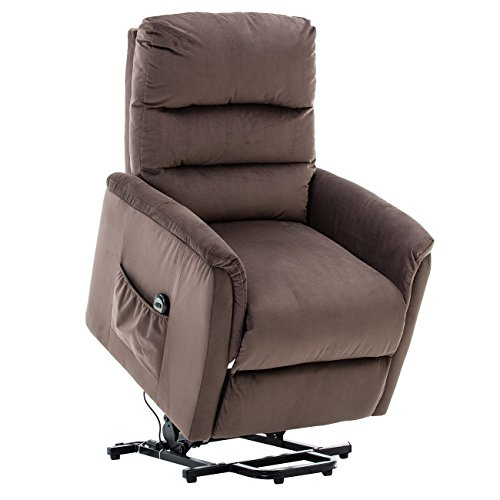 BONZY Lift Recliner Contemporary Power Lift Chair Soft and Warm Fabric with Remote Control for Gentle Motor, Chocolate