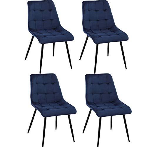 DORAFAIR 4er Set Vintager Retro Stühle Samt Esszimmerstühle, Skandinavisch Küchenstuhl mit Solide Metallbein, Blau