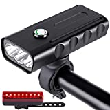 Bike Light USB Rechargeable with Power Bank, Aluminum Alloy Bike Headlight and Taillight Set, IPX5 Waterproof High Bright 5 Hours, Easy to Install Night Safety Lights 3 Mode Fits All Bikes