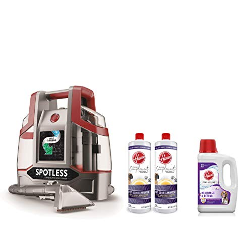 Hoover FH11300PC Spotless Portable Carpet Cleaner, Red & Paws & Claws Deep Cleaning Carpet Shampoo Machine Cleaner, 64oz, White & Odor Eliminator Carpet Cleaning Formula, 16 oz, Pack of 2, White