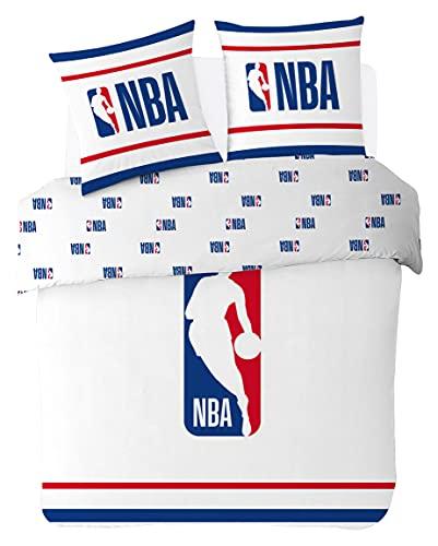 NBA – Funda de edredón con Logotipo de la NBA 200 x 200 cm + 2 Fundas de Almohada de 63 x 63 cm – Juego de Cama para 2 Personas – Blanco – 100% algodón