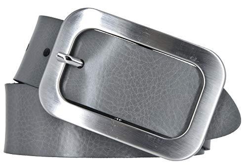 Vanzetti Damen Leder Gürtel Vollrindleder Damengürtel grau 40mm (90 cm)