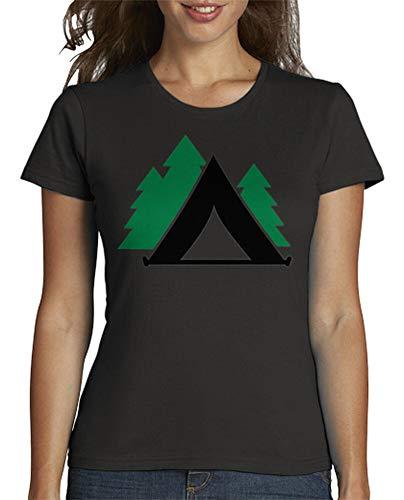 tostadora - T-Shirt Camping Zelt Wald - Frauen Dunkelgrau M