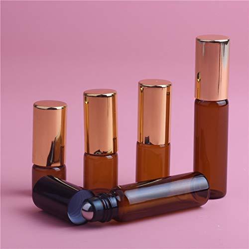TOSISZ 1Ml 2Ml 3Ml 5Ml Botella De Rodillo En Rollo Ámbar para Aceites Esenciales Botella De Perfume Recargable Envases De Desodorante con Tapa Dorada-3Ml, Tapa Dorada, Vidrio
