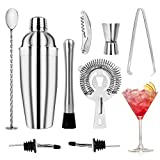 WOVTE Cocktail Making Set 9 Pcs Cocktail Shaker with 750ml Stainless Steel Bar Tool Set Wine Mixer, Bottle Opener, Broken Popsicle, Wine Pourer, Ice Clip, Measuring Cup