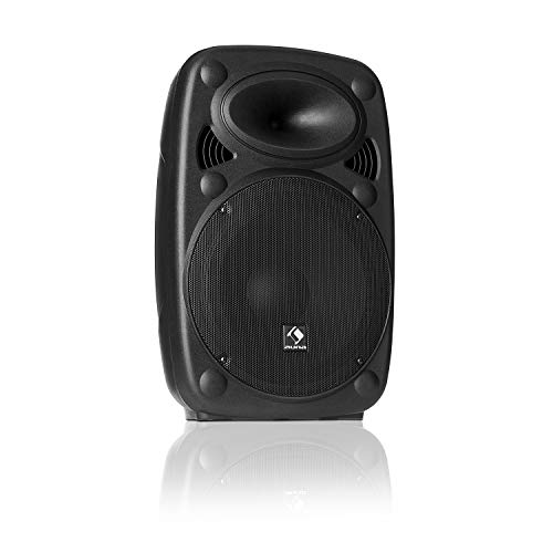 "auna SLK-8-A - Aktiver PA Lautsprecher, mobile PA Anlage, Bodenmonitor, 8"" (20 cm), 300 W max, XMR Bass Technology, Bluetooth, USB, SD, MP3, Line In/Out, Flansch-Anschluss, schwarz"