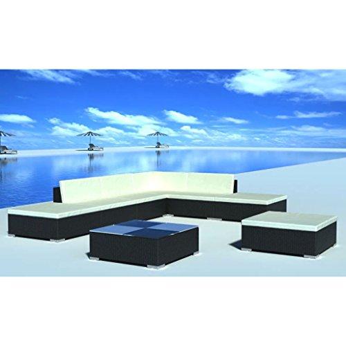 Lingjiushopping Ensemble canapés de jardin 20 pièces en polyrotin noir Couleur du coussin : Blanc crème Ensemble de meubles d'extérieur