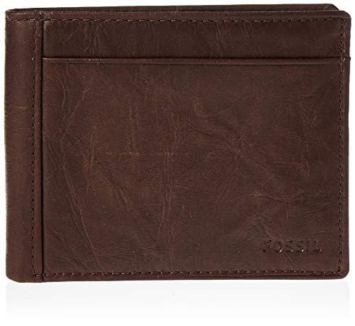 Fossil Men's Neel Leather Bifold Flip ID Wallet, Brown
