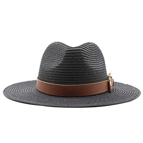 Sombreros De Paja Gorra De Mujer Sombrero para El Sol Sombrero De Paja Tejido De ala Ancha para Mujer Sombrero De Playa para Exteriores Sombrero De Viaje Sombrero De Jazz De Moda-Dark_Grey_5