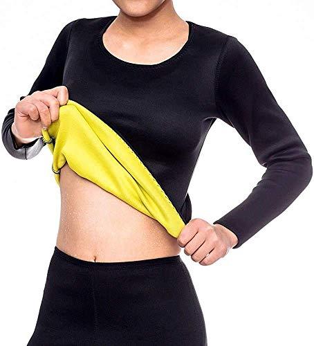 Iwinna Women Sweat Weight Loss Sauna Suit Neoprene Workout Shirt Training Body Shaper Zipper Slim Fitness Jacket Long Sleeve Shapewear Gym Fat Burner Top