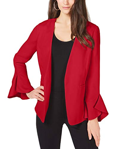 Alfani Womens Open Front Flutter Sleeves Jacket Red XL