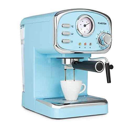 Klarstein Espressionata Gusto Espressomaschine, 1100 Watt, 15 Bar Druck, Volumen Wassertank: 1 Liter, abnehmbares Tropfgitter aus Edelstahl, spülmaschinenfeste Tropfschale, pastellblau