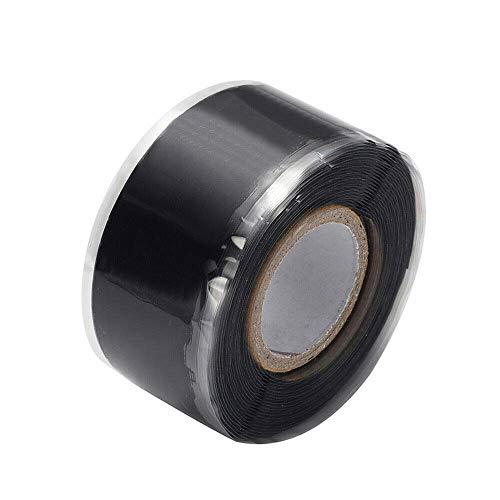 Isolierband, Silikonreparatur-Dichtungsband, wasserdichtes selbstschmelzendes Rohrreparaturband (2,5 cm x 3 m, 1 Stück, schwarz)