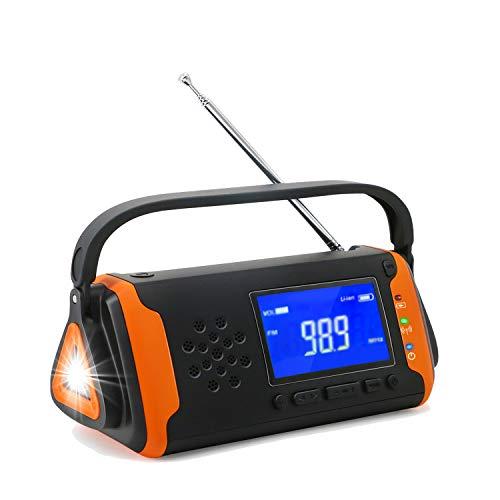 TKOOFN Solar Dynamo Kurbel Radio FM, Tragbares Multifunktion Outdoor Novelty Notfallradio mit LCD Bildschirm + 4000mAh als Power Bank/AUX Musik Spielen/LED-Taschenlampe/SOS Signal