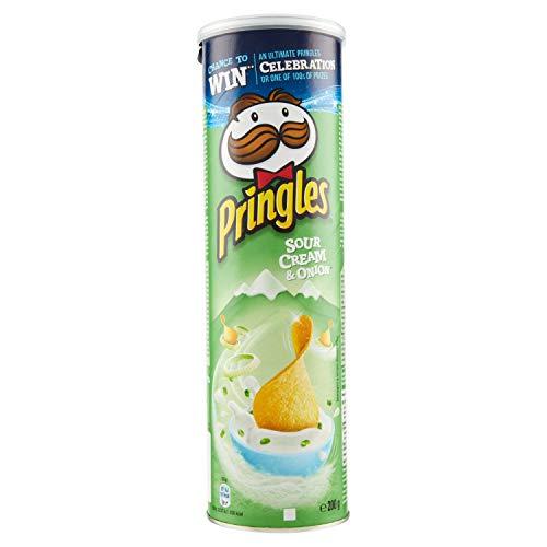 Pringles Sour Cream and Onion Crisps, (1 x 200g tube)