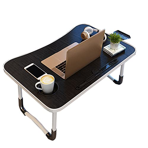 XH Mesa para portátil Plegable Bandeja de Regazo para Tableta para teléfono Inteligente Escritorio de pie Ajustable para Regazo Mini Mesa - Bandeja de Desayuno (Color : Black, Size : 60 * 40 * 28cm)