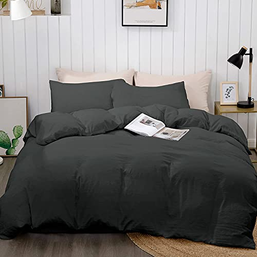 "BEDELITE Duvet Cover Queen Size, Black Bedding Comforter Cover, Soft Quilt Cover with Zipper Closure - 3 Pieces (Full Duvet Cover 90""x90""+ 2 Pillow Shams)"
