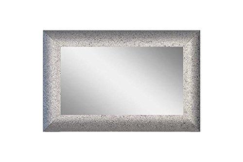 CVC- Specchio da parete, cornice argentata, dettaglio punti vernice. Dimensione 60x120 cm. Made in Italy