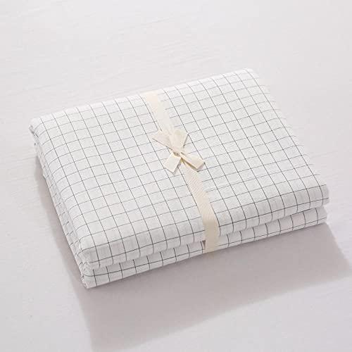 Madrasskydd,Tvättat bomullsrelat Solid Färg Sänglinne, Lägenhet Sovrum Sovhäng Singel Double King Size-vit_150 * 200cm + 19cm
