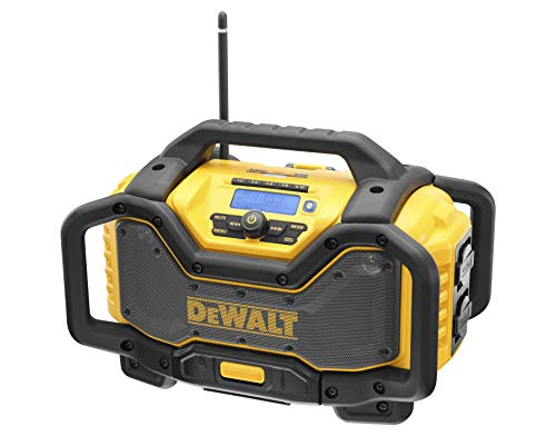 Dewalt Akku- und Netz-Radio (mit Ladefunktion, DAB+ und AM/FM-Stereo, leistungsstarke Lautsprecher, robustes Gehäuse mit Überrollbügel, Bluetooth, USB-Anschluss) DCR027