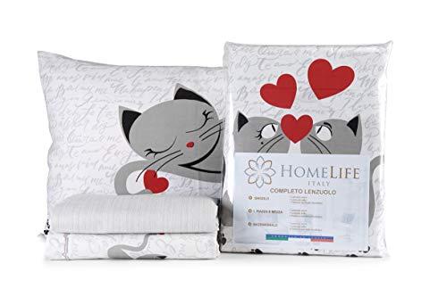 HomeLife Set Lenzuola Letto Matrimoniale Cotone Gattini, Made in Italy | Completo 2 Piazze + Federe con Disegno Gatti | Lenzuolo sopra 250X300 + sotto con Angoli 180x200 + 2 Federe 52x82 - Grigio,2P