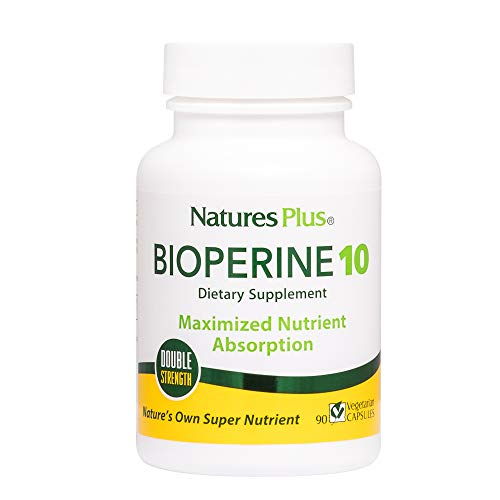 NaturesPlus Double Strength Bioperine Black Pepper Extract - 10 mg - Nutrient & Herb Absorption Enhancer Vitamin Supplement - 90 Vegetarian Capsules (90 Servings)