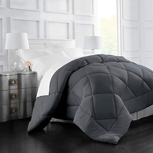 Italian Luxury Goose Down Alternative Comforter - All Season - 2100 Series Hotel Collection - Luxury Hypoallergenic Comforter - Full/Queen - Gray