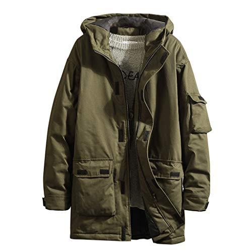 Buy Bargain Letdown_Men Hoodies Men's Autumn Winter Outwear Mid-Length Hooded Thickened Multi-Pocket...