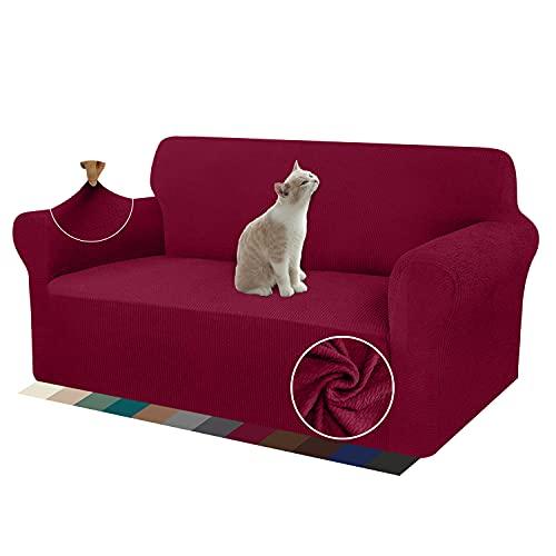 Granbest Copridivano elasticizzato a righe per divano a 2 posti, protezione regolabile, antiscivolo, rosso vino, 2 posti